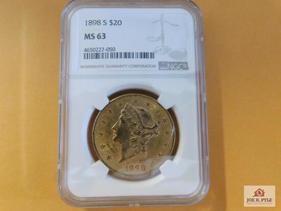 1898 S $20 Gold Piece MS 63