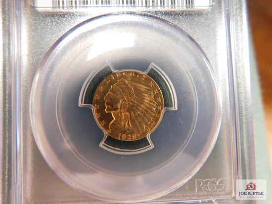 1929 Indian Head $2.50 Gold Piece PCGS MS 63