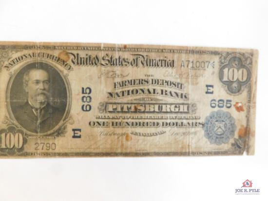 $100 Bill Serial #A71007 Series of 1902 (Pittsburgh)