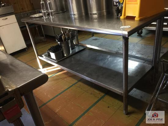 """Stainless steel prep table 72"""" 30"""" x 36"""""""