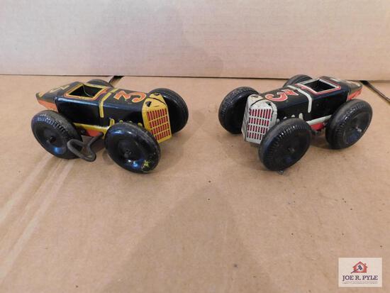 Vintage Tin Wind Up Race Cars