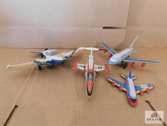 Group Of Vintage Tin Airplanes