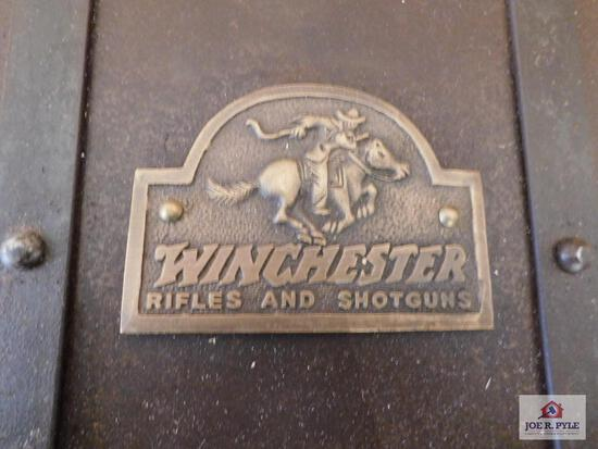 Vintage Winchester Rifles And Shotguns Metal Ammo Box With Lock And Keys 14X12X8