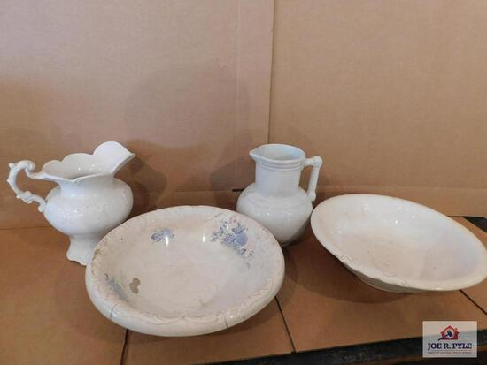 Two Non-Matching Pitcher And Bowls- One Pitcher Is Ironstone China