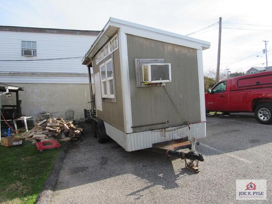 16 ft concession trailer w smoker, tru 2 door fridge, 2 single pan volroth food warmers, cold table,