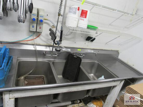 3 bowl stainless steel drop-in sink w side boards on wooden rack approx. 9ft long