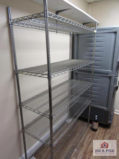 5 tier stainless steel shelves 4 ft wide approx. 18 inches deep