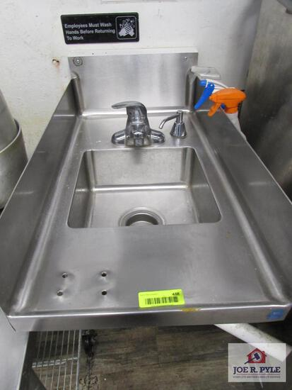 stainless steel handwash sink approx. 15 inches wide, 30 inches long