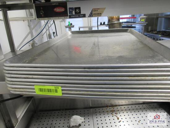 9 aluminum cookie sheets approx. 26 inches long by 18 inches wide
