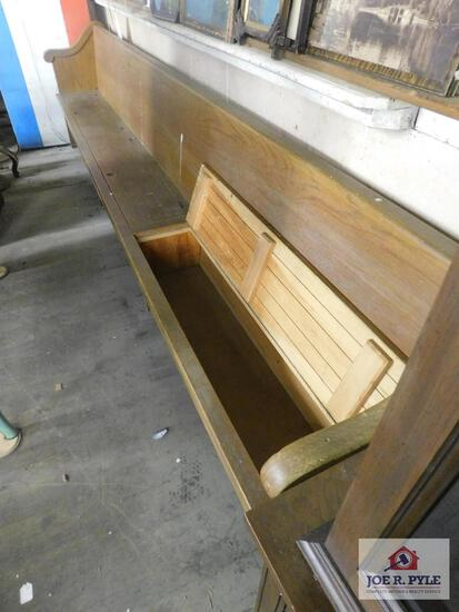 Church pew with storage approx. 11 ft