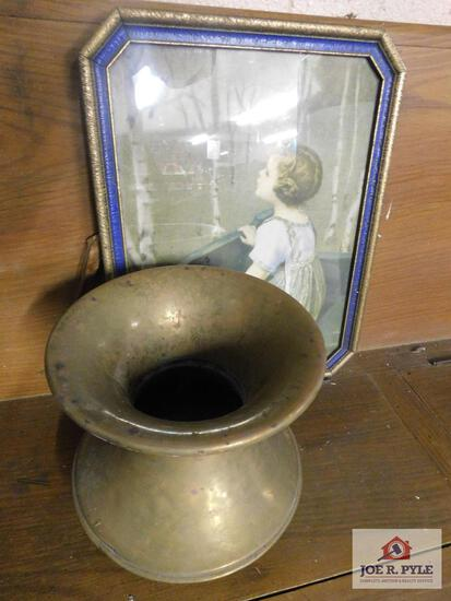 Antique brass spittoon