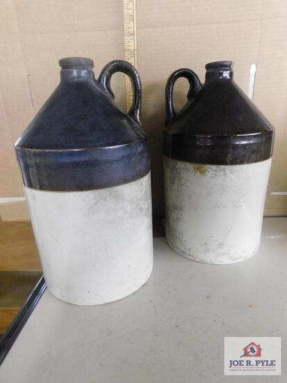 2 Tan and brown jugs