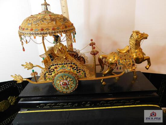 Gold-trimmed oriental carriage w/ lady on carved base