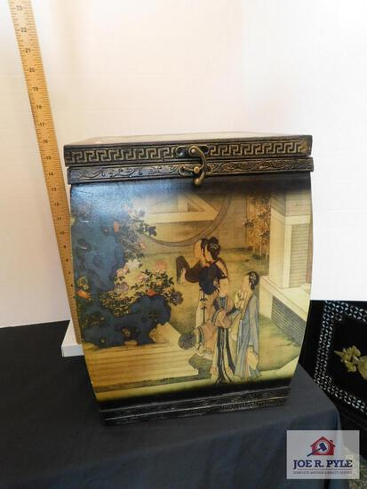 Painted decorative wooden oriental box