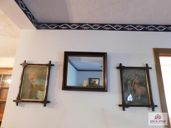 Antique framed pictures and mirror