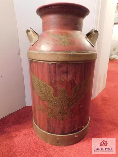 Painted milk can eagle decoration