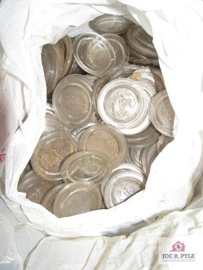 lot of glass canning lid tops