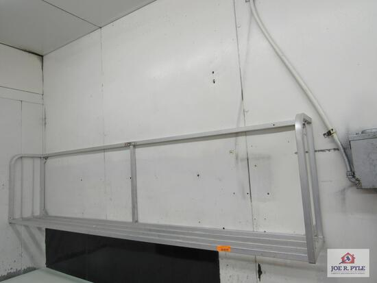 Aluminum shelf 8ft long 24inches tall, 12 inches deep (must take down)