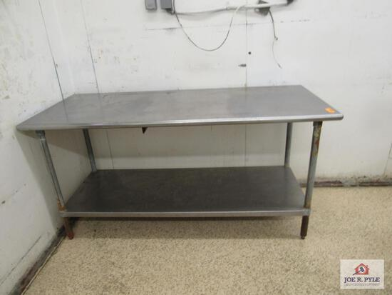 stainless steel table approx. 72 inches long, 30 inches wide, 36 inches tall