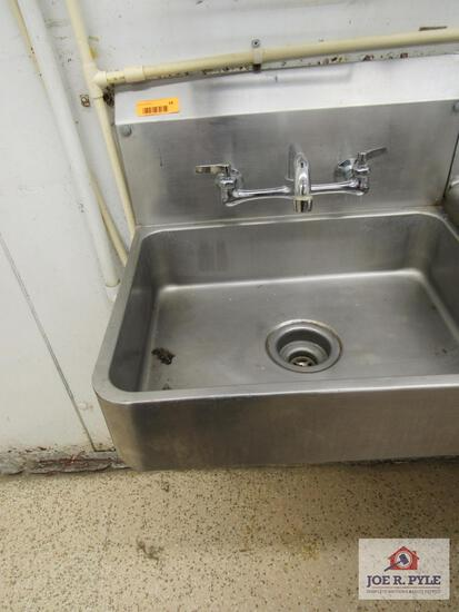 stainless steel handwash sink w backsplash 18 inches long, 22 inches wide (must take down)