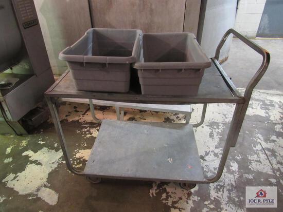 metal cart w 2 tubs