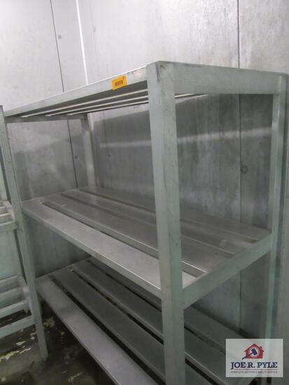 aluminum shelf approx. 24 inches wide, 59 inches long, 60 inches tall