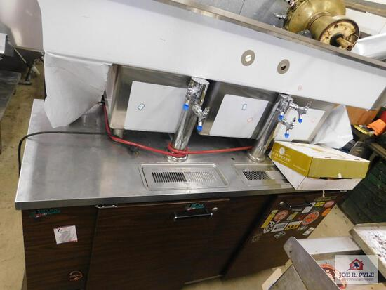 """Beer tap with cooler and metal sink 79"""" x 26"""""""