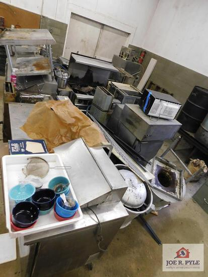 1 Large lot of commercial grade kitchen equipment: Pizza oven, microwave, dishwasher, grill, pots,
