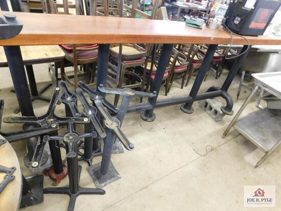 "Wood top bar 10' x 16"" x 42"" w/ 3"" hollow pipe legs"
