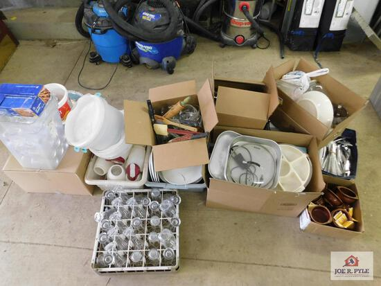 1 Large lot of plates, glasses, silverware