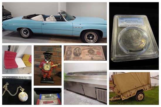 Vehicles, Vintage Furniture, Coins, Knives & more