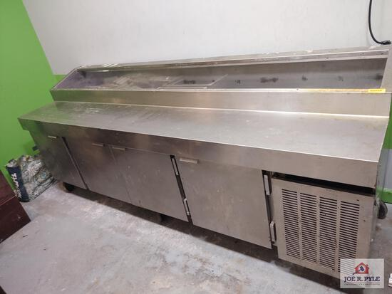 Stainless steel cooler prep table approx. 10ft long (must bring help to load)