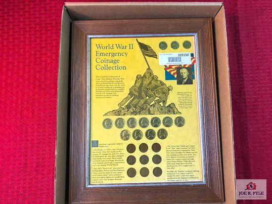 (49) Framed Presentation set of WWII Emergency Coinage Collection  
