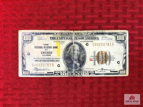 (43) US $100 paper bill - Federal Reserve Bank of Chicago - 1929 -  
