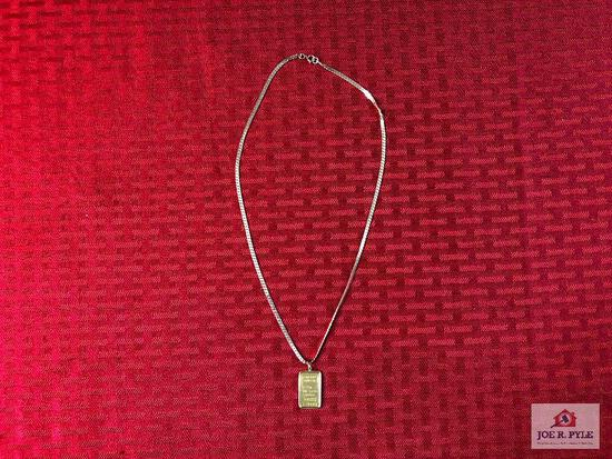 (45) 5g Credit Suisse bar on 14k gold chain w/assay certificate  