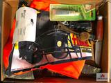 (162) Lot of misc. sporting goods: orange vest, bow quiver, knife, etc.