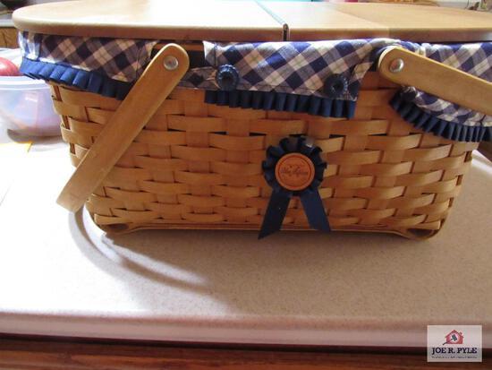 Longaberger Basket Blue Ribbon Crafting Basket 2004
