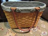 Longaberger Basket Summertime Boardwalk Basket With Leather Handles 2001