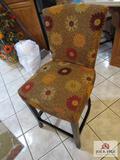 (2) flower print bar stools