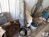 Lot Of Misc. Chain, Bucket, Hitch, Grease Drum, Ect.