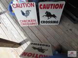 (3) Metal Signs