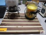 Cutting Board, S/P Shakers, Candle