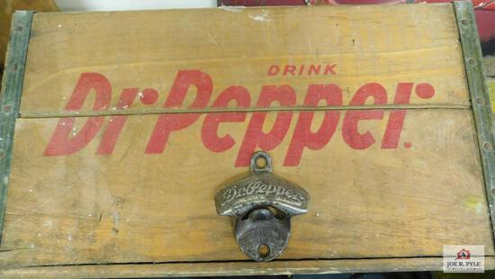 Wooden Dr. Pepper box and Dr. Pepper bottle opener