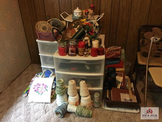 Large lot of decorator: candles, baskets, yarn, books, etc.