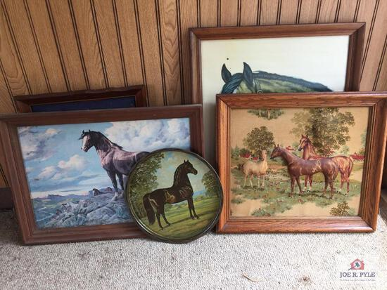 Lot of horse related pictures, and wall rack