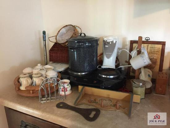 Kitchen items: stockpots, can opener, hotplate, etc.