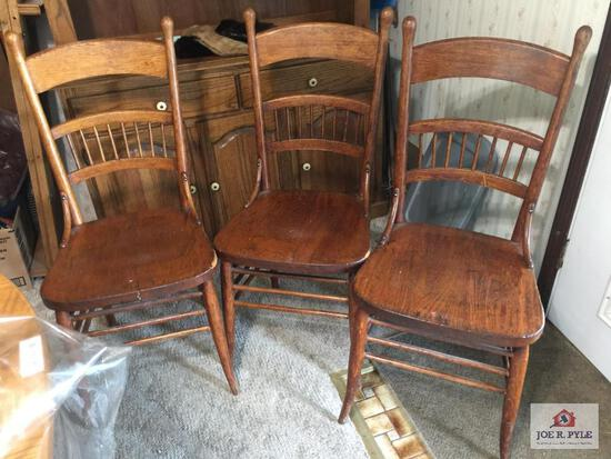 Set of three antique oak chairs