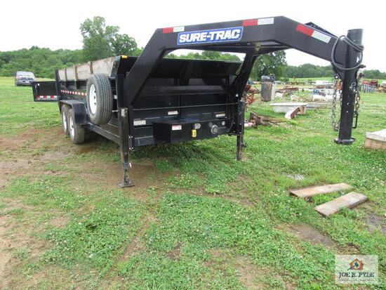 2018 Sure Track 16 Ft Dump Trailer With Ramps The Back Tail Gate Opens Two Ways Vin#