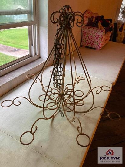 Vintage hanging iron candle holder