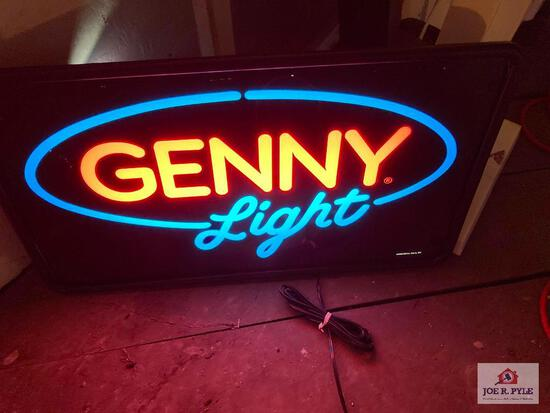 Vintage Genny Light lighted bar sign